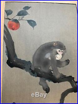 JAPANESE WOODBLOCK PRINT MONKEY AND PERSIMMON by KOS0N ORIGINAL FIRST EDITION