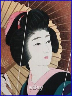 JAPANESE WOODBLOCK PRINT TORII KOTONDO AME (Rain)