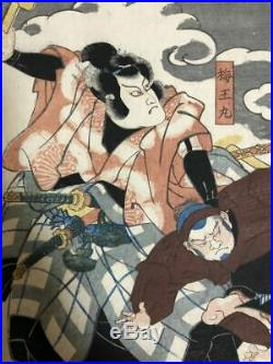Japanese Antique Woodblock print Ukiyoe Utagawa Kuniyoshi Edo Period 3 sheets
