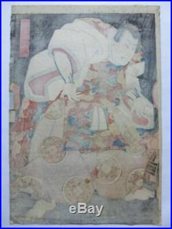Japanese Antique Woodblock print Ukiyoe Utagawa Toyokuni Edo, 373 x 257 mm