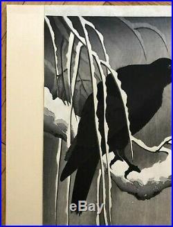 Japanese Ohara Koson (1877-1945) Crow On A Snowy Bough Woodblock Print