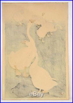 Japanese Ohara Koson Unmounted Woodblock Print Geese Near Pond Sg Seal Shoson