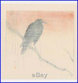 Japanese Woodblock Print CROW AT SUNSET OKUHARA SEIKO Muller Collection