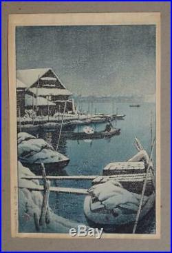Japanese Woodblock Print, Kawase Hasui, Snow At Mukojima