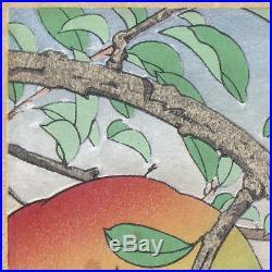 Japanese Woodblock Print Sparrow and Pomegranate by Jo (Hashimoto Yuzuru)