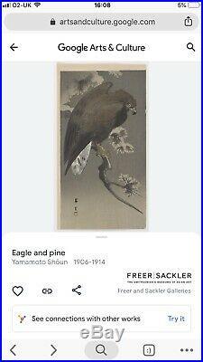 Japanese Woodblock Print Yamamoto Shun Eagle and Pine Wonderful