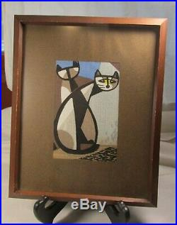 Japanese Woodblock Print by Tomoo Inagaki Two Cats Cubistic, Abstract Mid Century