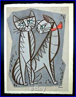 Japanese Woodblock by Tomoo Inagaki Temptation of Cats Signed #18 of 50