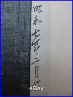 Japanese oban woodblock print Kawase Hasui Rain at Maekawa 1950s