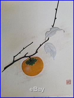 Japanese woodblock print. Haku Maki's Persimon
