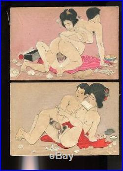 Japanese woodblock print ORIGINAL 12 SHUNGA collage set Meiji period(-1890)