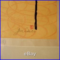 Jun Junichiro Sekino Woodblock Print Japanese Mid Century Modern 50s Japan Vtg
