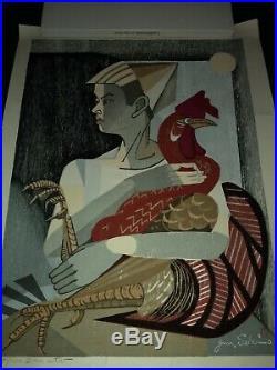 Junichiro Sekino Japanese woodblock print. (1914-1988). In original artist tube