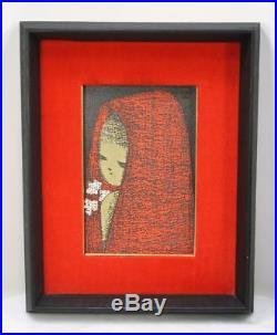 KAORU KAWANO Girl with a Red Hood. Modern Japanese Woodblock Original Frame