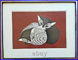 KAORU KAWANO Original VINTAGE Japanese Woodblock Print Cats