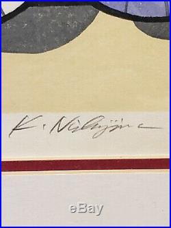 KATSUYUKI NISHIJIMA Signed Framed Original Japanese Wood Block Print Umbrellas