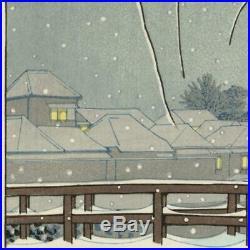 KAWASE HASUIEvening snow Edo RiverJapanese woodblock prints Landscape