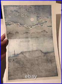 KAWASE HASUI Japanese Woodblock Print Full Moon at Arakawa River