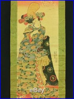 KUNIYOSHI Japanese Woodblock Print Hanging Scroll BIJIN Shizuka Gozen EDO 00