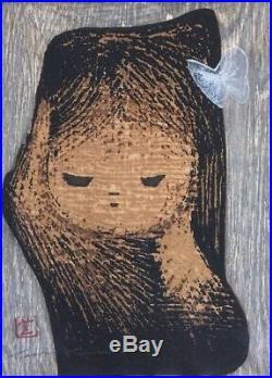 Kaoru Kawano Child and Butterfly Woodblock Print