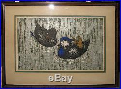 Kaoru Kawano Mandarin Ducks 1960s Pencil Signed Japanese Color Woodblock