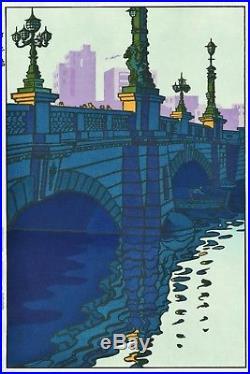 Kasamatsu Shiro JAPANESE Woodblock Print SHIN HANGA Nihonbashi Bridge