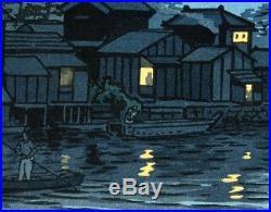 Kasamatsu Shiro JAPANESE Woodblock Print SHIN HANGA- Rising Moon at Katase River
