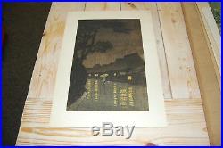 Kawase Hasui Early 20th Century Woodblock Print Rainy Night at Maekawa