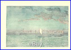 Kawase Hasui HKS-17 Sea side of Hamamachi Japanese Woodblock Print