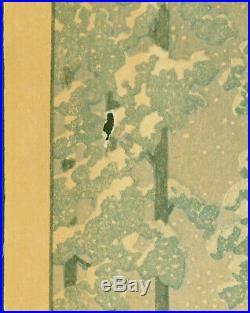 Kawase Hasui Japanese Woodblock Print Saishoin Temple in Snow Lifetime As-Is