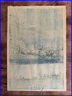 Kawase Hasui Mount Fuji from Tagonoura Bridge rare antique japanese woodblock