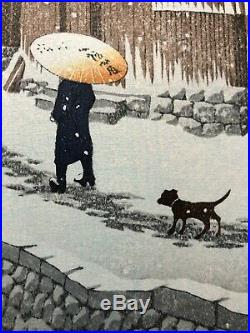 Kawase Hasui, snow at shinkawabata, handa, bishu, 1930 Japanese Woodblock Print