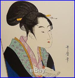 Kitagawa Utamaro Japanese Women With A Scroll Watercolor Woodblock