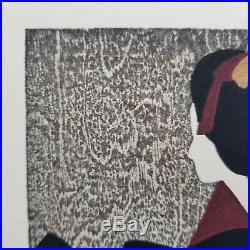 Kiyoshi Saito Framed Card Signed Wood Block Print Maiko Geisha Small 10in