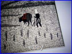 Kiyoshi Saito Original Signed Japanese Woodblock Print, Man Plowing Rice Field