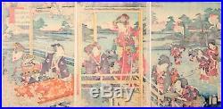 Kunichika, Original Japanese Woodblock Print, Beauty, Genji, Fishing, Ukiyo-e