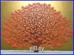 Limited Edition Japanese Woodblock Print By Hajime Namiki Tree Scene 140