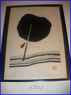 Listed artist Haku Maki Japanese Woodblock pencil signed 73-34