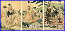 Lovely Meiji era UTAMARO Japanese woodblock triptych PICNIC BY A STREAM