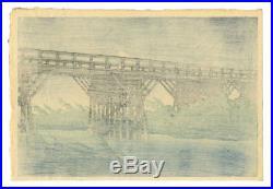 MINT! 1932 Kawase Hasui Shower Imai Bridge Original Japanese Woodblock Print