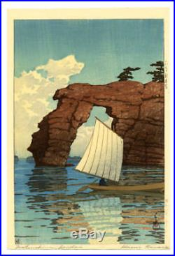 MINT! 1933 Kawase Hasui Zaimoku Island Original Japanese Woodblock Print