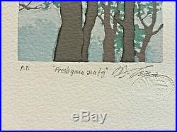 Masaaki Tanaka Fresh Green In A Fog Japanese Woodblock Print Artist's Proof
