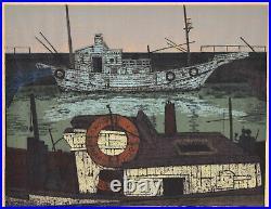 Mid-Century Modern Japanese Woodblock Print Commercial Fishing Boats Fukushima