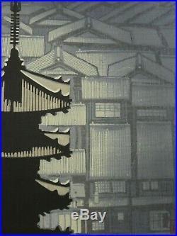 Modern Japanese Woodblock Print Pagoda Junichiro Sekino
