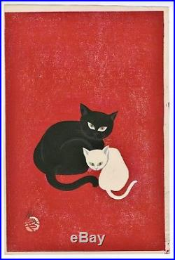 Ngai Iku Original JAPANESE OBAN WOODBLOCK PRINT Signed Black Cat and White Cat