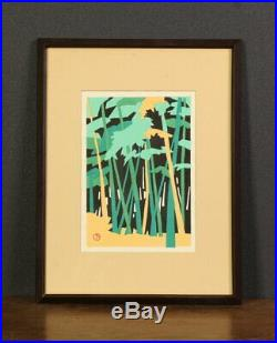 Nw1566jjNb3 Japanese framed woodblock print KAWANISHI YUZABURO BAMBOO GROVE