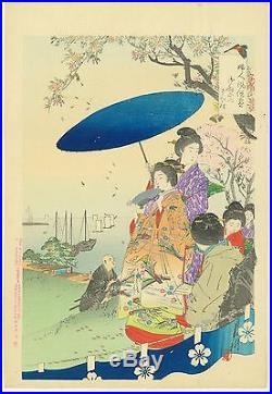 OGATA GEKKO Japanese woodblock print ORIGINAL Ukiyoe Cherry-blossom viewing