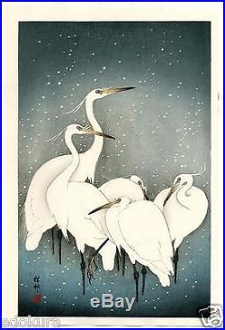 OHARA KOSON Shoson JAPANESE Hand Printed Woodblock Print Herons in Snow