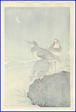 OHARA KOSON Shoson JAPANESE Hand Printed Woodblock Print Plovers and Waves