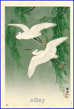 OHARA KOSON Shoson JAPANESE Hand Printed Woodblock Print White Herons & Willow